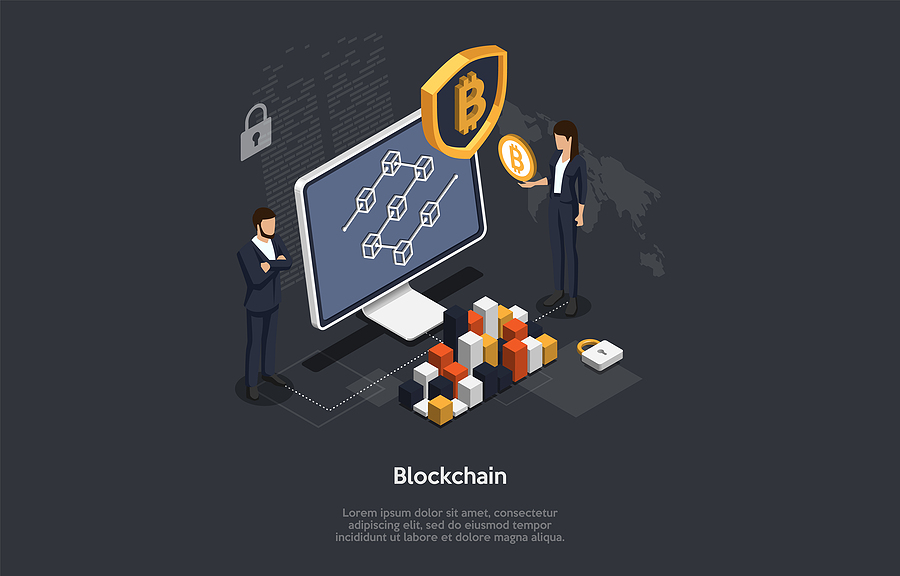 Isometric Blockchain And Cryptocurrency Concept.