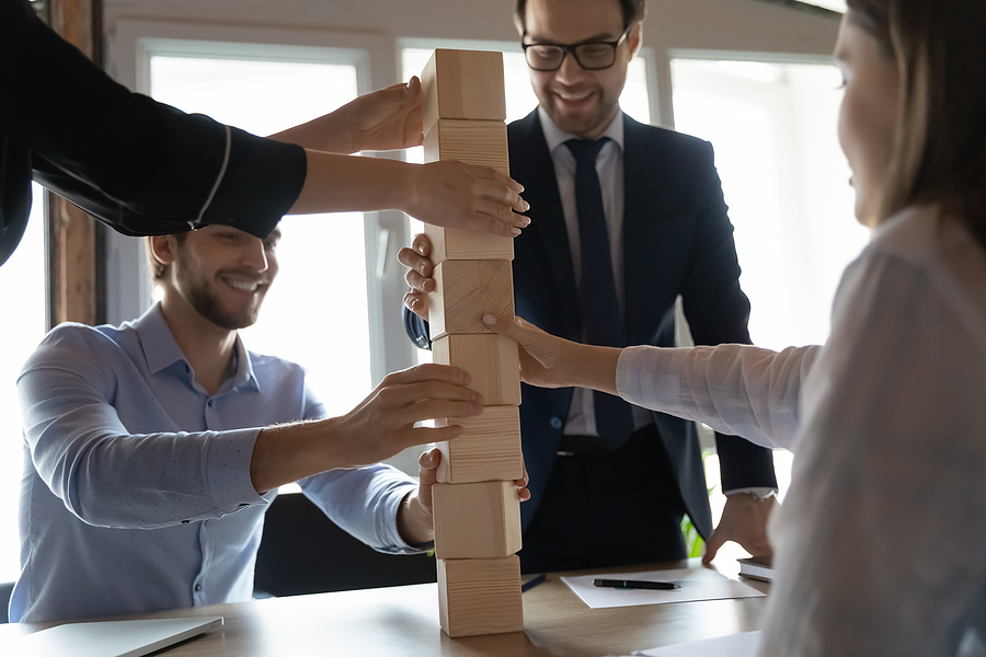 Group of employees during a team building activity