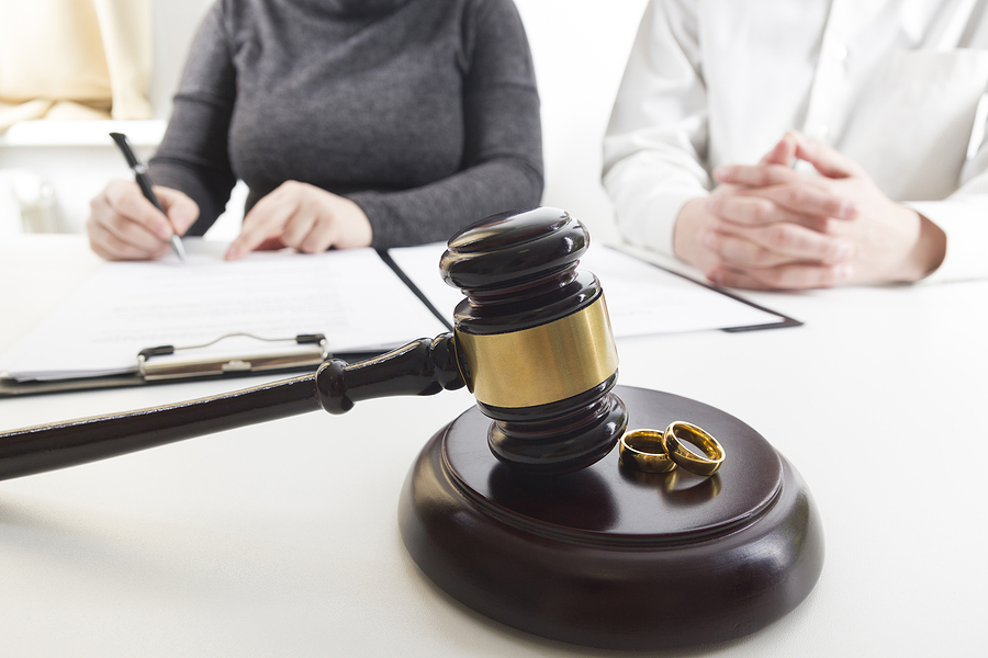 Couple and a gavel. Divorce concept