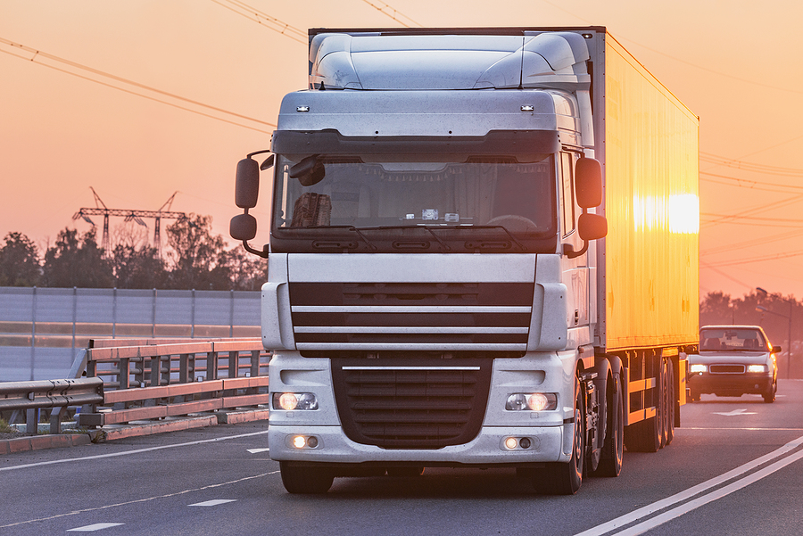 3PL truck moves on highway