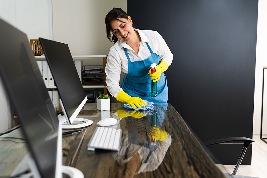 Woman working in a commercial cleaning business in Sydney CBD