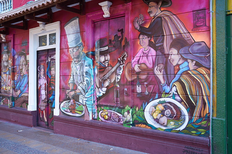 Street art created by a local mural artist