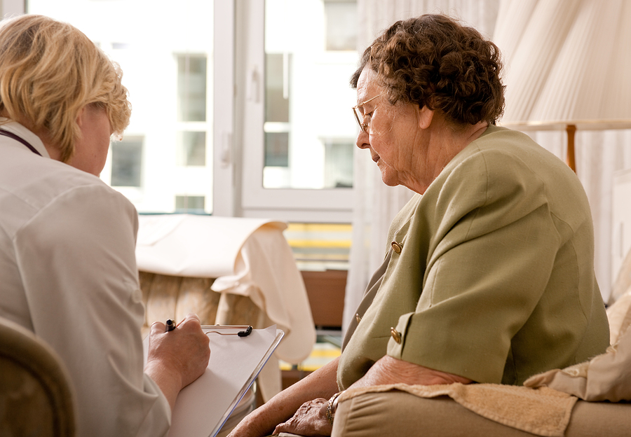 Elderly woman exploring aged care financial planning